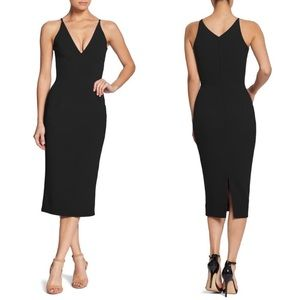 Dress The Population Black Lyla Crepe Midi Dress